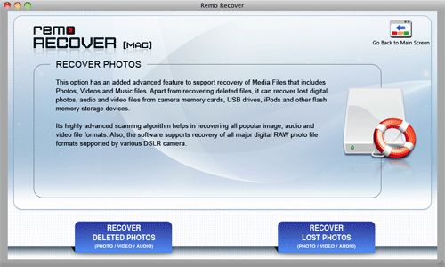 Recover SDHC Card - Mac Select Mode of Recovery Screen